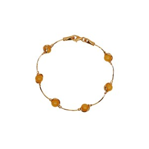 Gold-plated bracelet with milky amber