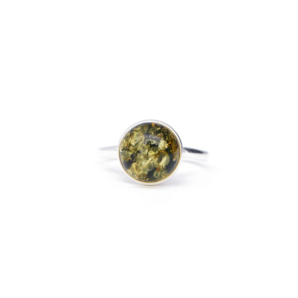 Silver ring with green Baltic amber