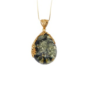 Gold-plated necklace with green amber