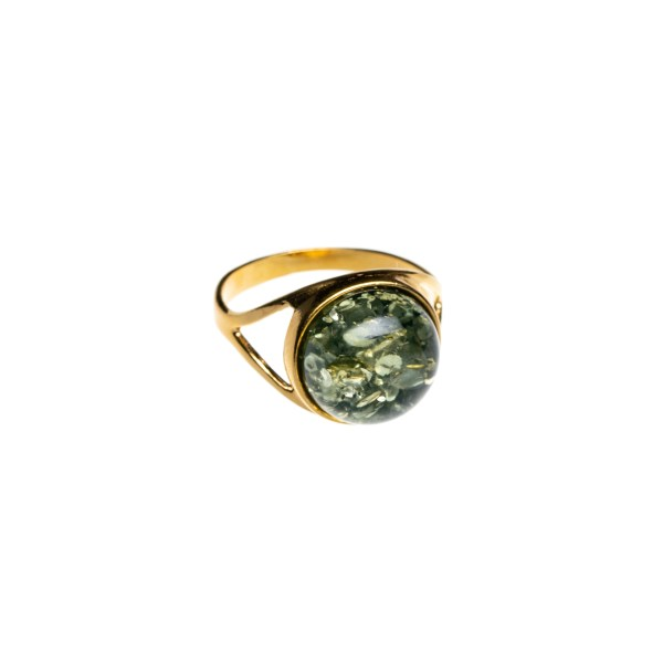 Gold plated ring with sparkling green amber