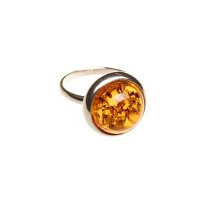 Silver ring with cognac amber, Scandinavian design