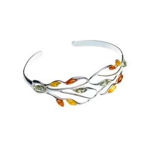 Cuff bangle silver bracelet with baltic amber