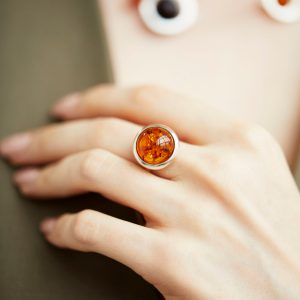 Silver ring with cognac amber, Scandinavian design