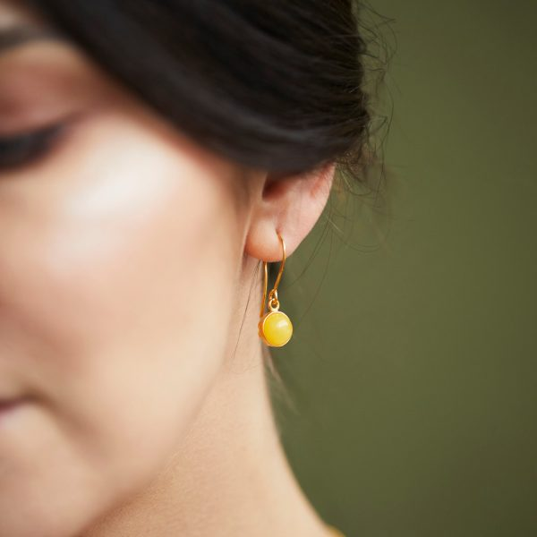 Milky amber earrings gold plated with silver