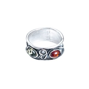 Silver ring with Baltic amber and crystal