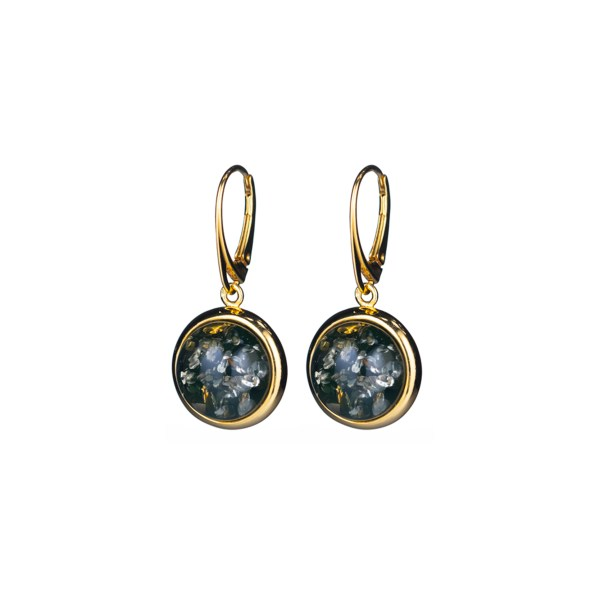 Gold-plated earrings with round green amber