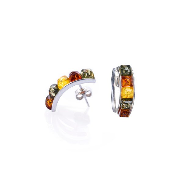 Silver earrings with genuine Baltic amber
