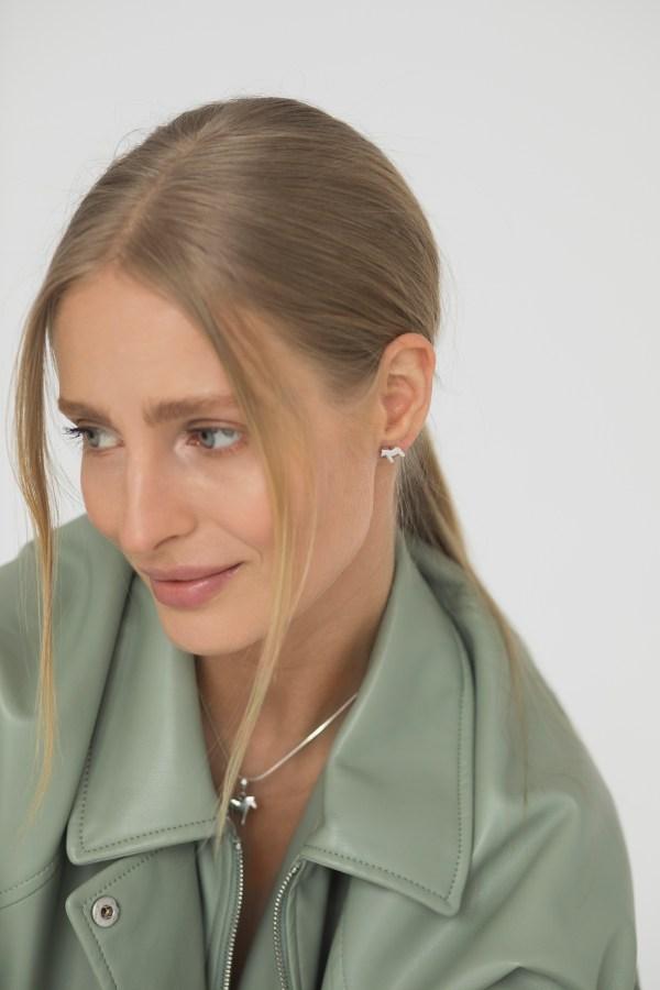 Dala horse silver earrings