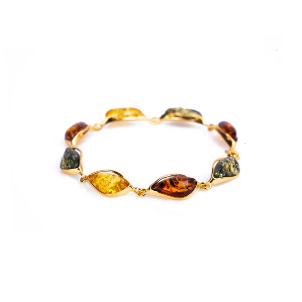 Gold bracelet with multi-coloured amber