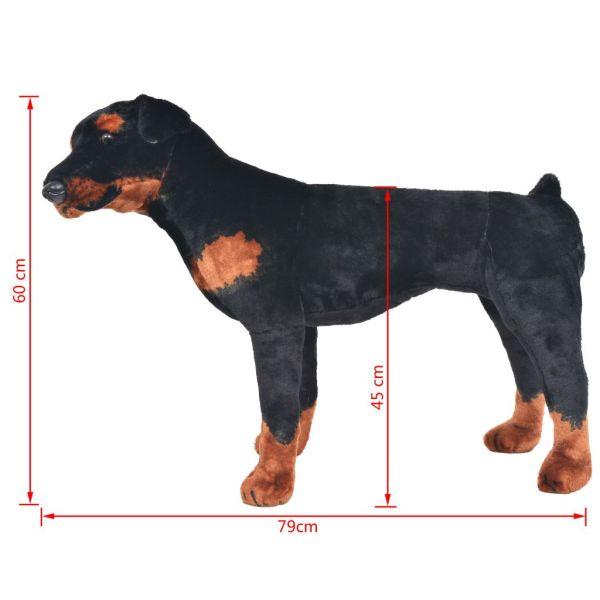 vidaXL Stående leksakshund rottweiler plysch svart och brun XXL