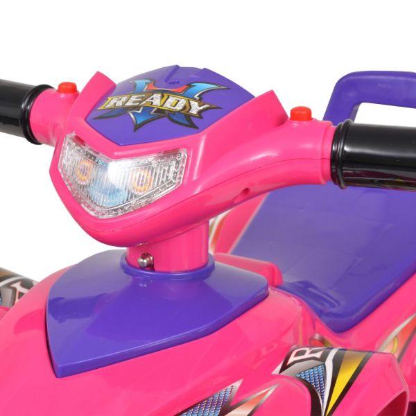 vidaXL Åkbil fyrhjuling med ljud och ljus rosa och lila