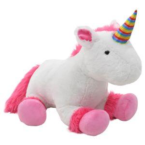 vidaXL Gosedjur enhörning plysch rosa och vit