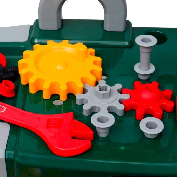 Snickarbänk för barn med verktyg grön/grå