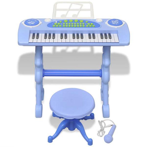 vidaXL Keyboard för barn med pall och mikrofon 37 tangenter blå