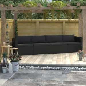 vidaXL Soffgrupp för trädgård med dynor 4 delar konstrotting svart