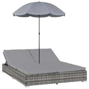 vidaXL Solsäng med parasoll konstrotting grå