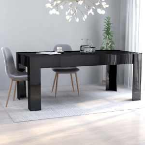vidaXL Matbord svart högglans 180x90x76 cm spånskiva
