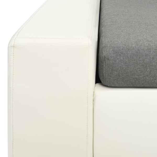 vidaXL Modulsoffa konstläder vit och ljusgrå