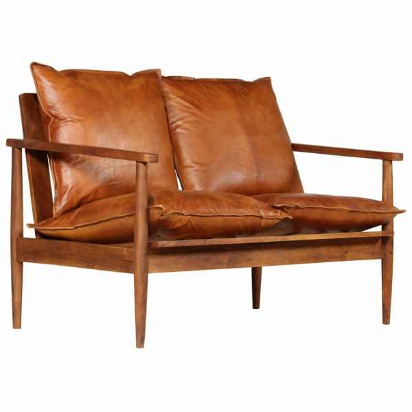 vidaXL 2-sitssoffa i äkta läder med akaciaträ brun