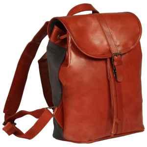 vidaXL Ryggsäck äkta läder tanfärgad