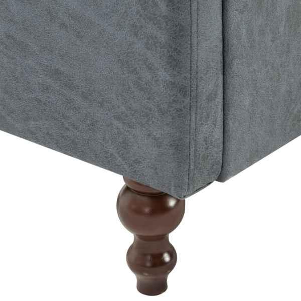 vidaXL Chesterfieldsoffa 3-sits tygklädsel grå