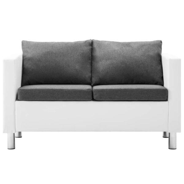 vidaXL 2-sitssoffa i konstläder vit och ljusgrå