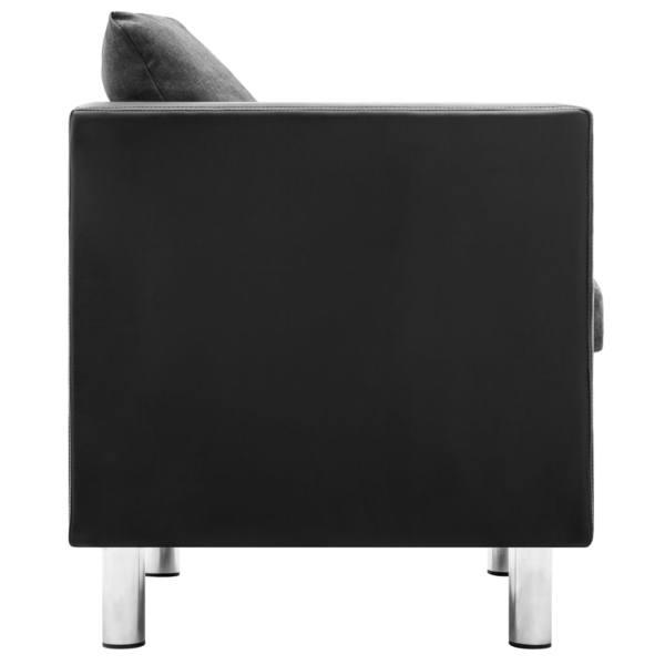vidaXL Soffgrupp 2 delar konstläder svart och ljusgrå