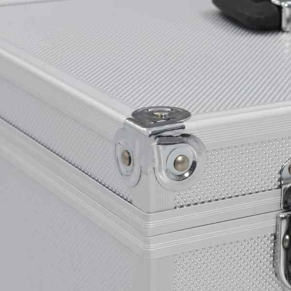vidaXL Sminklåda 37x24x40 cm silver aluminium