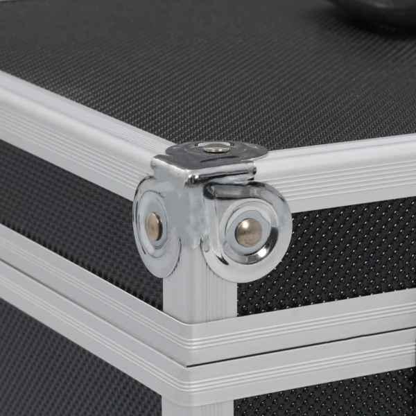 vidaXL Sminklåda 37x24x40 cm svart aluminium