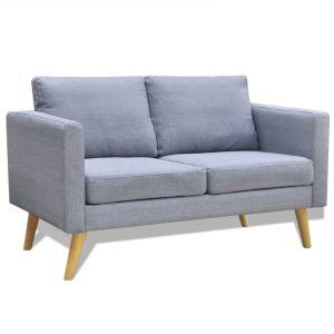vidaXL Soffa 2-sits tyg ljusgrå