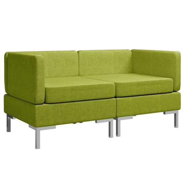 vidaXL Hörnsits till modulsoffa 2 st med dynor tyg grön