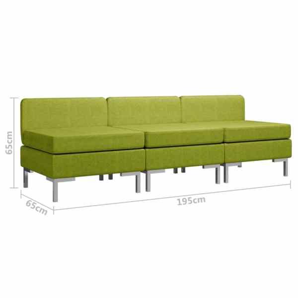 vidaXL Mittensits till modulsoffa 3 st med dynor tyg grön