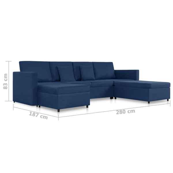 vidaXL Bäddsoffa 4-sits tyg blå