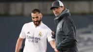 Ihre Klubs wollen Gründungsmitglieder der Superliga sein: Liverpool-Trainer Klopp (r.) und Madrid-Stürmer Benzema vergangene Woche.
