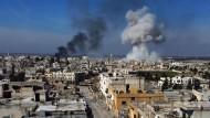 Die umkämpfte Stadt Saraqib in der syrischen Provinz Idlib.