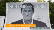 """Plakatkampagne """"Mein Ende gehört mir"""" mit dem Schauspieler Michael Lesch im Jahr 2014"""