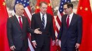 Chinas Vize-Premierminister und Chefverhandler Liu He mit dem amerikanischen Handelsbeauftragten Robert Lightizer und Finanzminister Steven Mnuchin im März 2019 (v.l.) in Peking