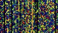 Genanalyse als Werkzeug der Krebstherapie: Mutationen in der Abfolge der DNA-Bausteine (hier blau, rot, gelb und grün dargestellt) liefern Hinweise für maßgeschneiderte Medikamente.