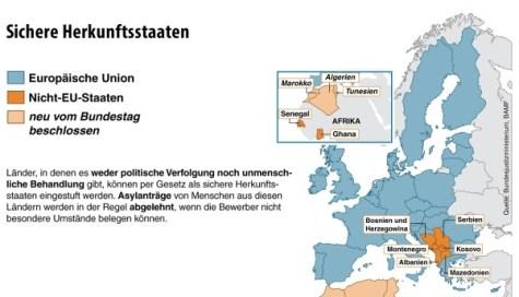Infografik / Karte / Sichere Herkunftsstaaten