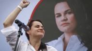 Swetlana Tichanowskaja bei einem Wahlkampfauftritt
