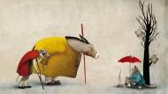 Mäusen jagt der alte Bartputzer nicht mehr hinterher, den Musikanten auf dem Weg nach Bremen schließt er sich gerne an: So sieht Gabriel Pacheco das Treffen von Esel, Hund und Katze.