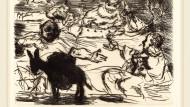 Wenn eine Feier aus dem Ruder läuft, ist dieser Veranstalter zufrieden: das Gastmahl des Trimalchio, wie Lovis Corinth es 1919 sah.