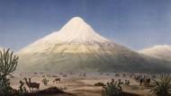 Am 23 Juni 1802 versuchte Humboldt, den Chimborazo (kolorierter Kupferstich, gezeichnet von Jean-Thomas Thibaut nach einer Skizze Humboldts) im heutigen Ecuador zu besteigen. Obwohl er scheiterte, gehört dieses Abenteuer zu den bekanntesten Episoden seiner Amerikareise.