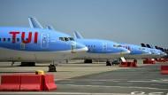 Flugzeuge des Unternehmens TUI stehen auf dem Flugfeld des Brüssler Flughafens (Symbolbild).
