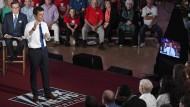 Pete Buttigieg, einer der Präsidentschaftsbewerber der Demokraten, und Fox-News-Journalist Chris Wallace im Mai bei einer Diskussionsveranstaltung in Claremont.