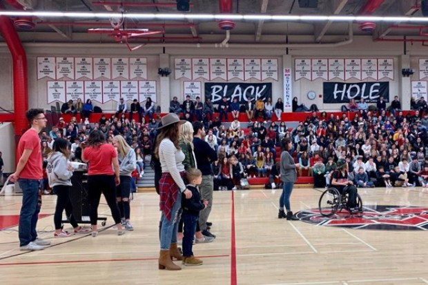 An assembly at Mountain View High Schoolfor the school's Sparrow. This year, the assembly portion is a no go. - COURTESY NANCY CHILDERS