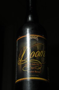 A bottle of Founders Doom impersonating the monolith from 2001: A Space Odyssey