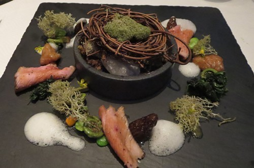 A fairy ring of morels, veal and elderflower at Sixteen.