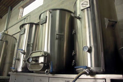 A low-angle shot can make a three-and-a-half-barrel brew house look much more imposing.