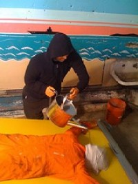 An animatronic demonstration of waterboarding in Coney Island, 2008